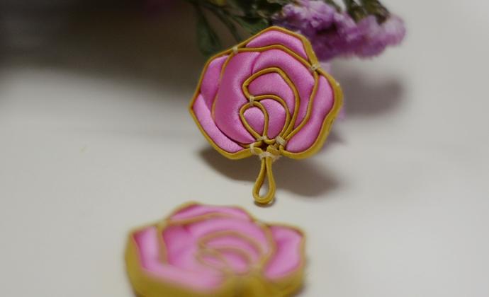 自在小腰原创设计中国花扣玫瑰饰品可定制为项链或耳环