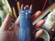 蓝染猫咪挂件