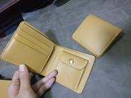 黄色植鞣革短夹