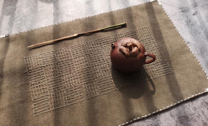 #sashiko# 植物染刺子绣土布茶席