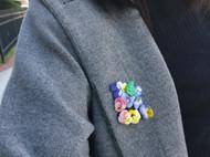 立體繡-三色堇迷你pin