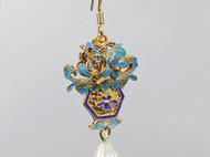 银镀金花丝镶嵌点翠珍珠耳环