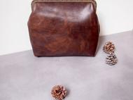 vintage自制中古包头层牛皮植糅革摔纹牛皮夹子包斜跨包手提女包