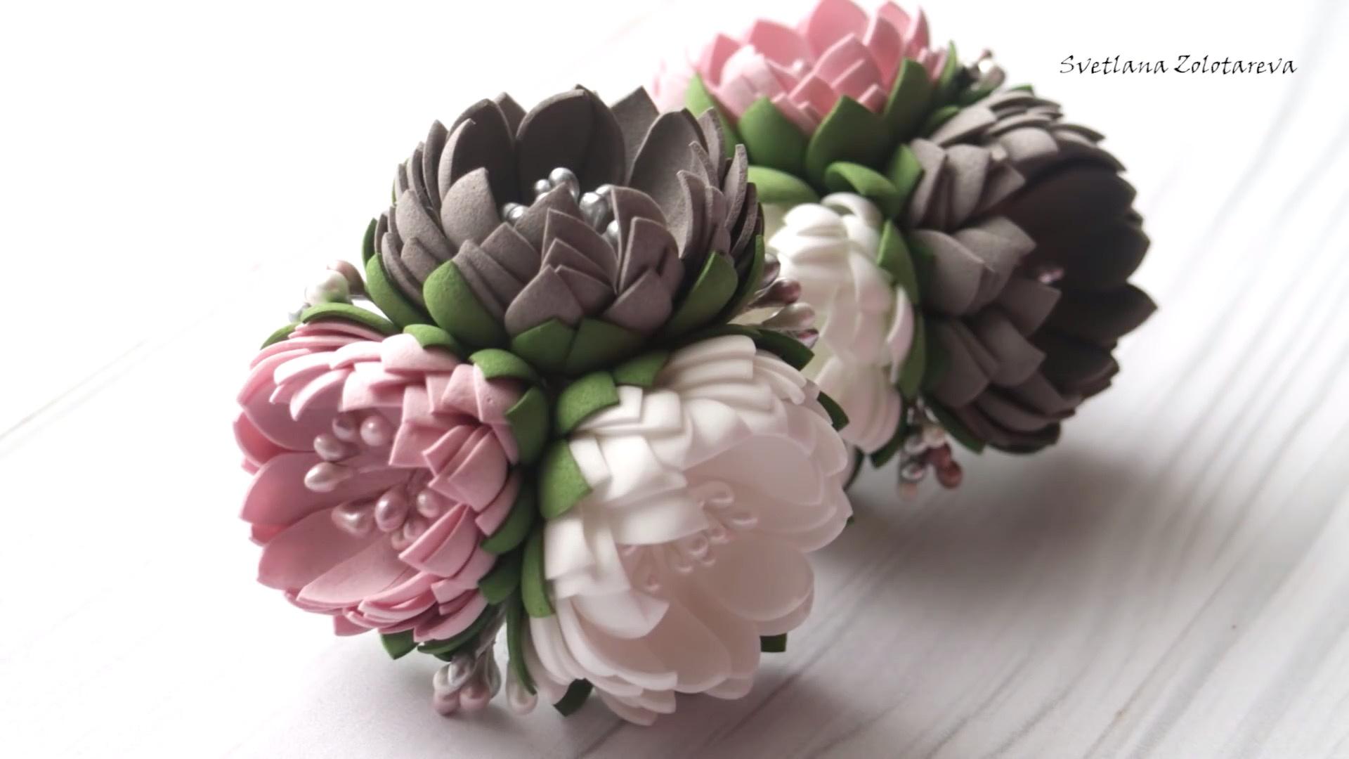 DIY泡沫花教程:花朵造型橡皮筋发饰