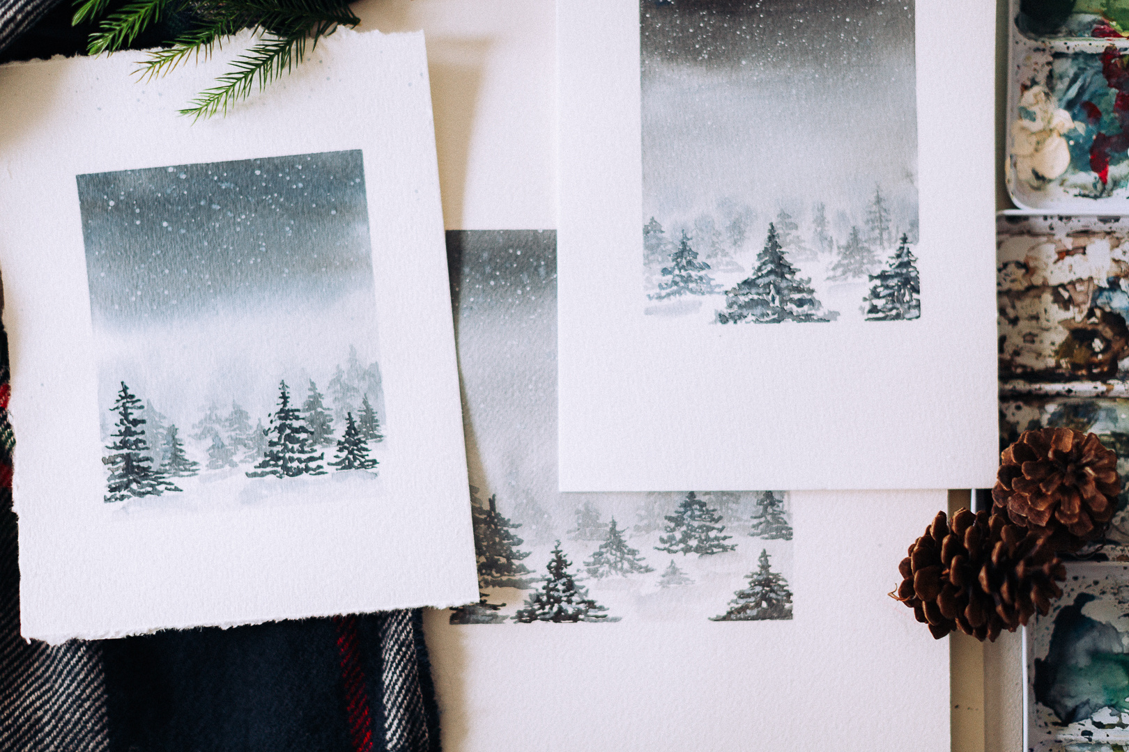 水彩视频教程   冬季雪景