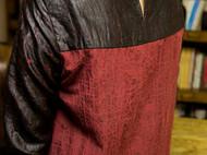 新中式真丝龟裂纹香云纱长袖连衣裙-独立设计师品牌[荒腔]