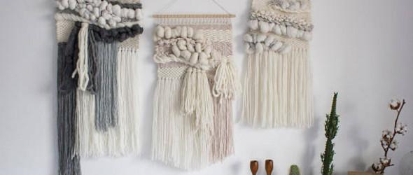 她的挂毯作品,素雅中带着可爱与温暖