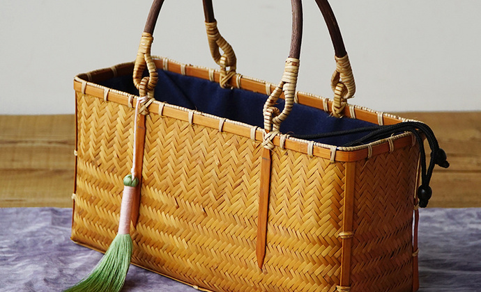 隐机者 手工竹编手挽袋 女式手提包竹篮包文艺茶人包中式复古提篮