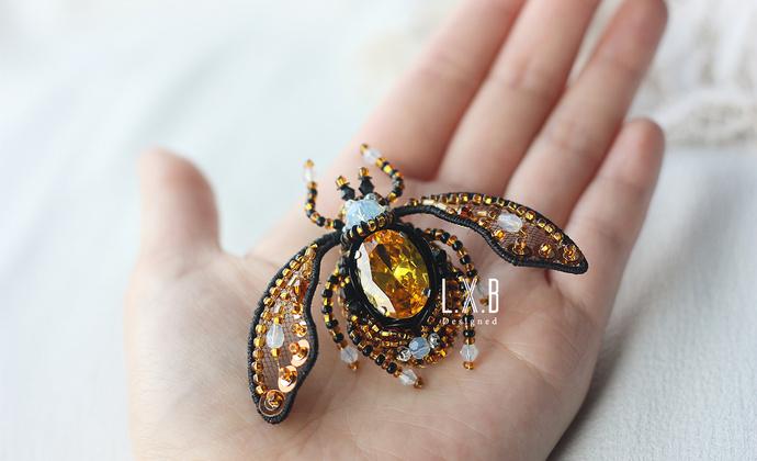 【LXB私人设计】手工 法式刺绣 立体珠绣 毛衣大衣昆虫胸针 现货