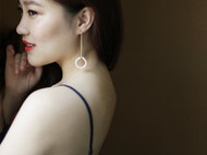 M.Q奎妮小姐 天然小珍珠圈圈耳坠/耳线(单只)