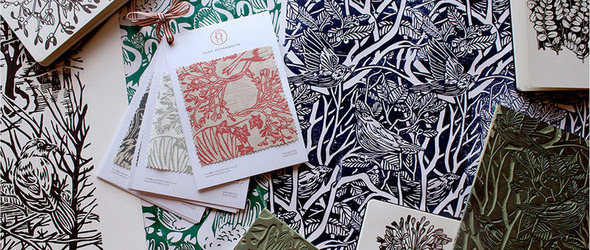 亚麻油毡印刷美丽的印花布 - 英国设计师 Susie Hetherington