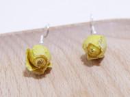纯手工 小清新 气质黄玫瑰耳环