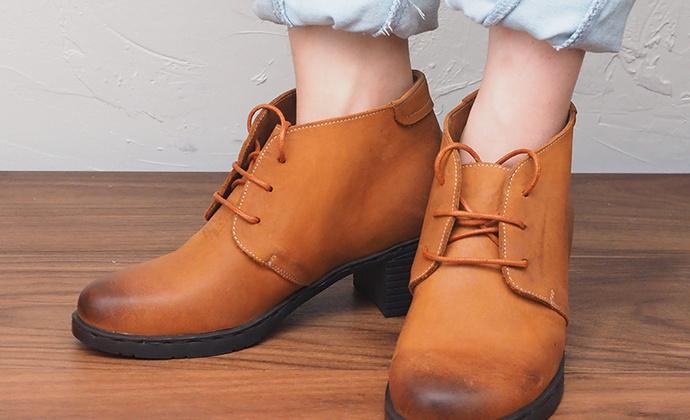 守根34-42码软皮擦色系带棕粗跟6cm增高头层牛皮透气女缝线技术短靴皮鞋赠护理套装手工牛皮鞋垫