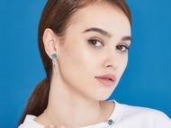 CAMBAS刊芭思 银镶晶钻绿色星球胸针女 法式设计简约服装配饰