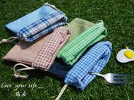 素色春调 防水麻布小收纳袋束口袋
