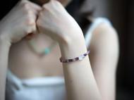 「气息」老萤石手链 彩虹石 古珠 低调 原矿石 紫红渐变