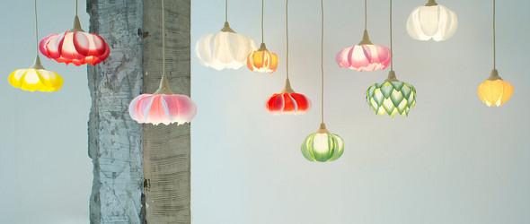 花卉与灯光一起怒放:日本照明作家村松さちえ使用和纸创作的美丽花卉和纸吊灯