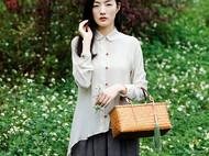 隐机者 100%桑蚕丝砂洗双绉天然红玛瑙扣不对称 真丝女式衬衫衬衣