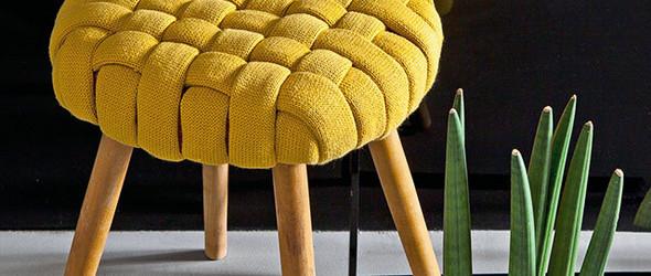 #旧物改造# DIY教程:将穿旧的针织衫(毛衣),变成漂亮的编织凳面!