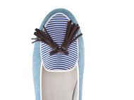 蓝色牛仔条纹吸烟手工鞋