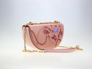 粉蝶系列---半圆包,皮雕工艺,手工上色