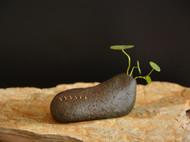 雅器堂禅意石头花器花插微型鹅卵石头花盆锔瓷锔钉手工修补水培盆