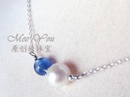MeeYou|轻珠宝 天然珍珠蓝晶石原创925银项链锁骨链金牛生日礼物