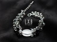 【LXB私人设计】嵌银粉琉璃 水晶手链 现货