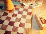 原木棋盘&杯垫-黑胡桃&榉木-手工拼版-iDo手工实验室
