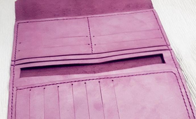 纯手工真皮钱包 淡紫色封蜡油面牛皮