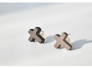 原创手工紫光檀木耳钉十字架925纯银耳针