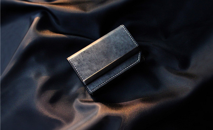 [MEOW'S 911002] 意大利La Bretagna黑色擦蜡×紫光檀名片包/卡包