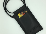 【DIY已打斩皮革材料包】黑色意大利植鞣革头层牛皮简约手机包(iphone6适用)