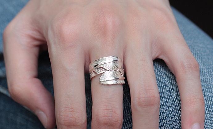 偶屿925银双羽毛戒指