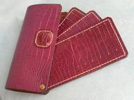 手缝鳄鱼纹牛皮旋转卡包