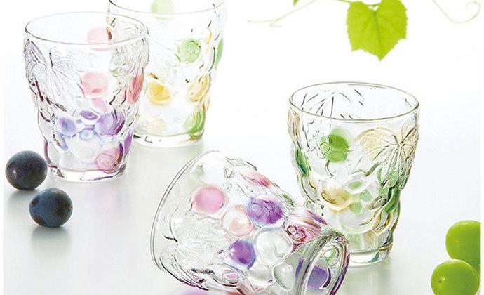 日本进口石塚浮雕葡萄图案玻璃杯/情侣杯/酒杯/对杯