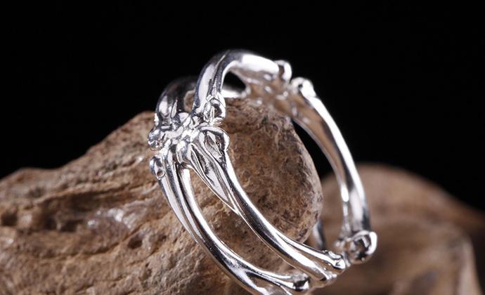 偶屿925银骨廓戒指