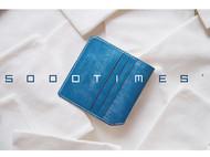 5000TIMES'手工皮具-片叶系列 钱包 卡包 英国马缰革 蓝色