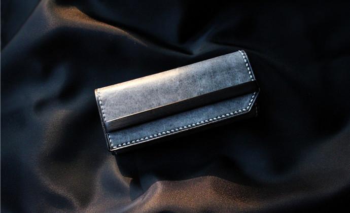[MEOW'S 911002] 意大利La Bretagna黑色擦蜡×紫光檀钥匙包