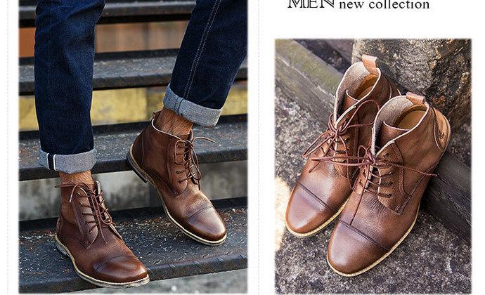 秋冬复古高帮英伦时尚男士皮靴子