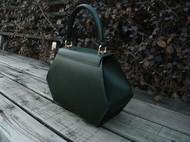 六边形墨绿十字纹手提包