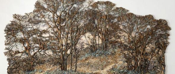 宁静而永恒的纺织森林:英国艺术家 Lesley Richmond 独特的楮皮艺术画