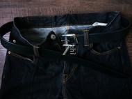 七制 手工皮具 意大利多脂植鞣革 黑色3.5皮带 不锈钢皮带扣头
