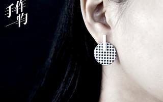 DIY复古格调的黑白格子纹理珐琅耳钉