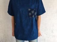 古法植物蓝染刺子绣贴兜T恤-独立设计师品牌[荒腔]