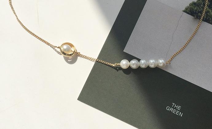M.Q奎妮小姐 做个小女孩/天然珍珠圈圈锁骨链/项链