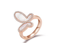 CAMBAS刊芭思 蜕变蝴蝶戒指 银镶晶钻时尚个性925纯银女简约指环