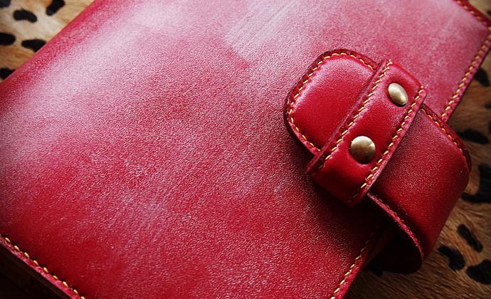 【SANSHU叁树 夏日走过山间】纯手缝中国红封蜡牛皮手帐笔记本