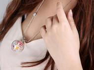 """AileenGift独立设计师品牌原创款""""小鸟与雏菊""""真花永生加长毛衣链"""