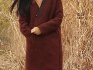 如初ruchu 羊毛柞蚕丝香云纱交领大衣